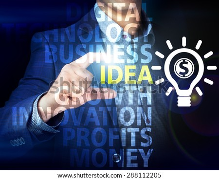 Businessman presses button idea on virtual screens. Business, technology, internet and networking concept. - stock photo