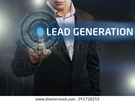 Businessman presses button lead generation on virtual screens. Business, technology, internet and networking concept. - stock photo