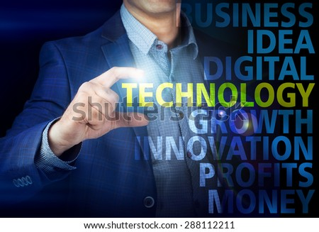 Businessman presses button technology on virtual screens. Business, technology, internet and networking concept. - stock photo