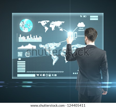 businessman presses interface, high resolution - stock photo