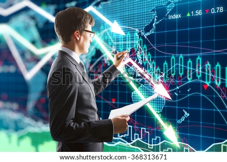 Businessman presses on the screen with business chart - stock photo