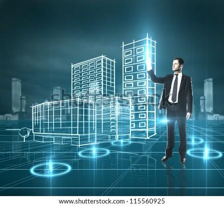 businessman presses skyscraper, high resolution - stock photo