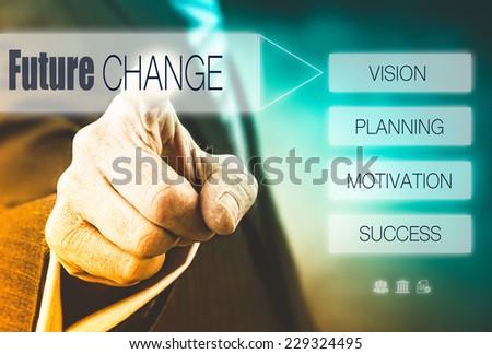 Businessman pressing a Change concept button. - stock photo