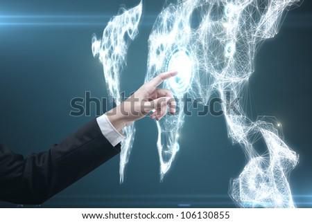 Businessman pressing a touchscreen Social Network button - stock photo