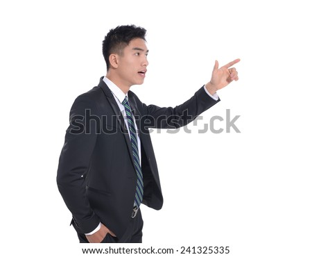 Businessman pressing an imaginary button