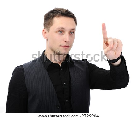 Businessman pressing an imaginary button - stock photo