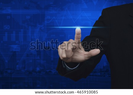 Businessman pressing blue spot light line power, Start up business concept, Elements of this image furnished by NASA