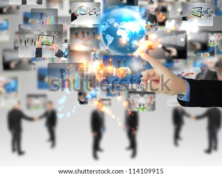 Businessman pressing business communication - stock photo