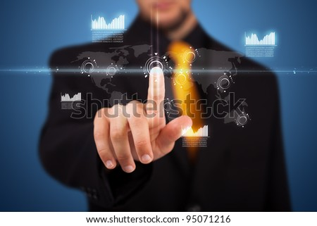 Businessman pressing business type of modern buttons with virtual background - stock photo