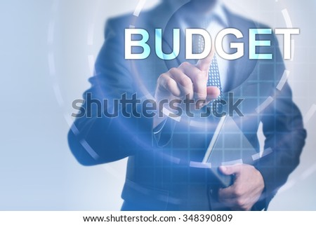 Businessman pressing button on touch screen interface and select Budget. Business concept. Internet concept.
