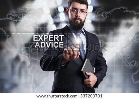 Businessman pressing button on touch screen interface and select Expert advice. Business concept. Internet concept. - stock photo