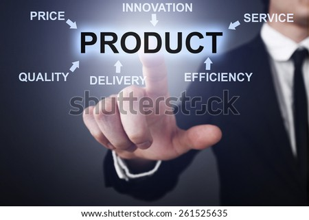 Businessman pressing button on touch screen interface and select product.   business concept.