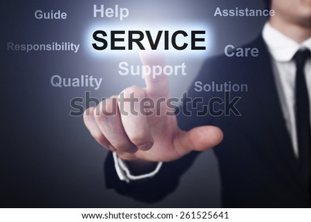 Businessman pressing button on touch screen interface and select service.   business concept. - stock photo