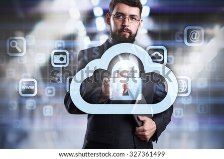 Businessman pressing button on virtual screen and select c cloud security Business, internet and technology concept. - stock photo