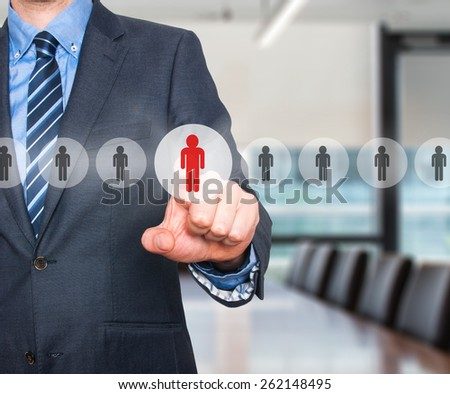 Businessman pressing button on virtual screens. Business, technology, internet, networking and recruitment concept - Isolated on office background. Stock Photo - stock photo