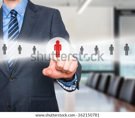 Businessman pressing button.Technology, internet, networking and recruitment concept. Isolated on office background. Stock Photo  - stock photo