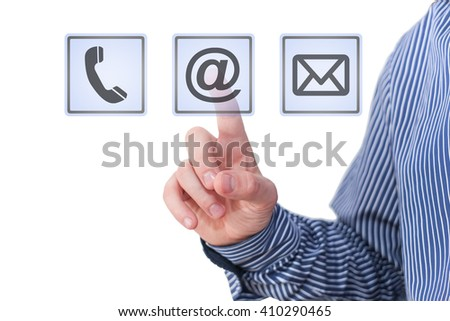 Businessman pressing digital contact app icons - stock photo