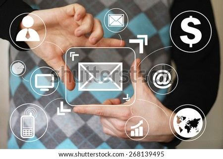 Businessman pressing messaging mail sign sending virtual