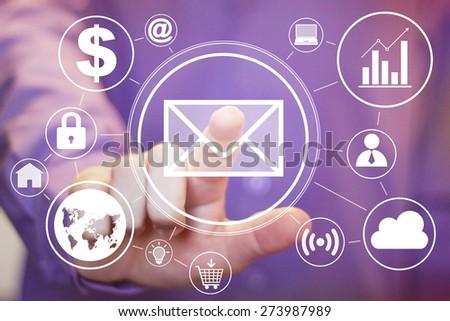 Businessman pressing messaging mail sign sending web set - stock photo