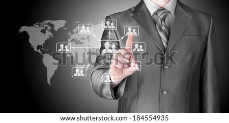 Businessman pressing modern social buttons