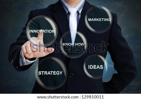 Businessman pressing modern social buttons, Business concept - stock photo