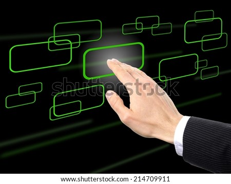 businessman pressing one of different buttons, solution concept - stock photo