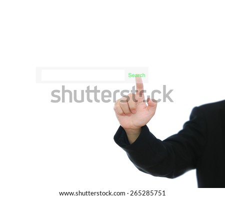 businessman pressing search on grey background - stock photo