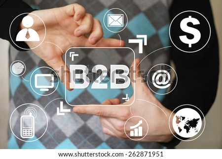 Businessman pressing sign button b2b virtual - stock photo