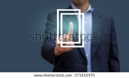Businessman pressing sign of window. Abstract of new option business. Design concept new solutions of work. innovation and solution - stock photo