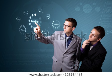 Businessman pressing simple start buttons on a virtual background - stock photo