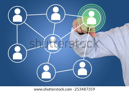 Businessman pressing social media network internet icon business concept - stock photo