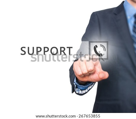 Businessman pressing support button on virtual screens. Isolated on white. Business, technology, internet and networking concept. Stock Image - stock photo