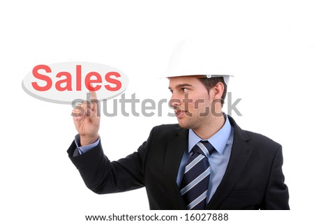 Businessman pressing the sales key, isolated over white