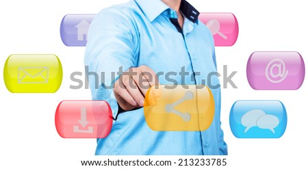Businessman pressing touch screen button - stock photo