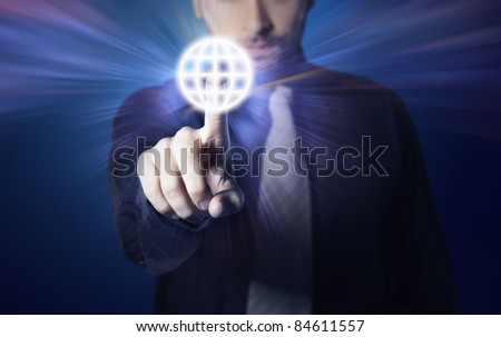 businessman pressing touch screen button ,business and technology speed concept