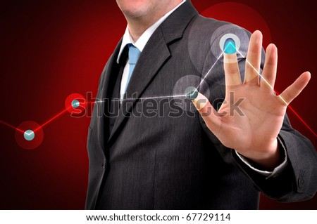 Businessman pressing touchscreen button. Business results concept.