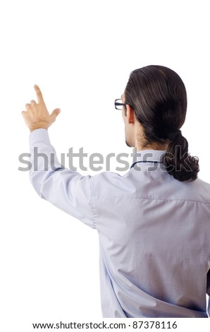 Businessman pressing virtual buttons - stock photo