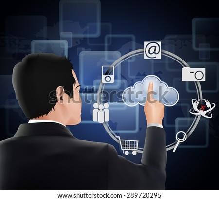 Businessman pressing virtual icons cloud - stock photo