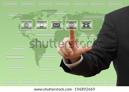 Businessman pressing virtual ( mail,phone,email,www ) buttons. customer support concept  - stock photo