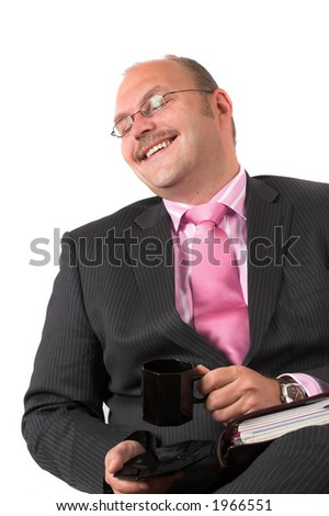 Businessman pretending to find something funny to be polite, but clearly faking it