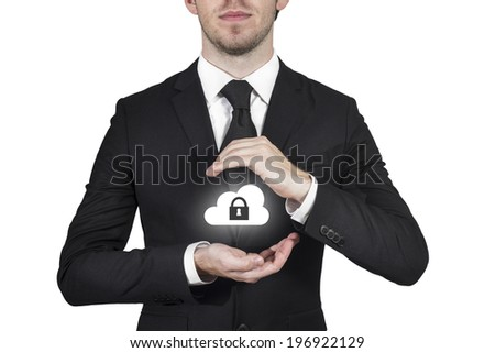 businessman protect cloud lock symbol with hands - stock photo