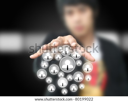 Businessman pull social network - stock photo