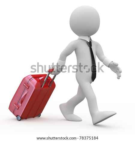 Businessman pulling a red trolley suitcase - stock photo