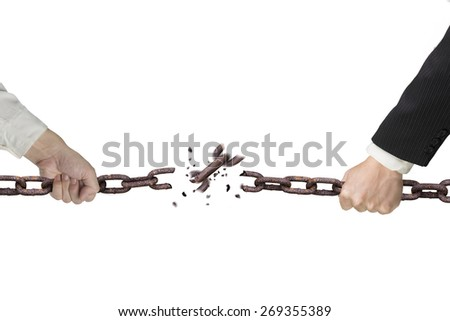 Businessman pulling rusty iron chains broken isolated on white background, tug of war, business competitive concept. - stock photo