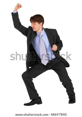 Businessman punching up isolated on a white background
