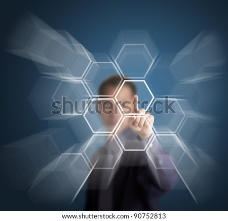 businessman push a touch screen button - stock photo