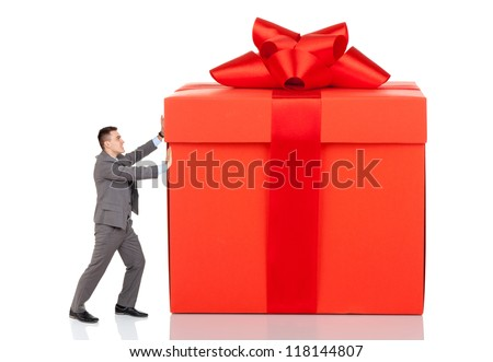 businessman push big gift box full stock photo edit now 118144807
