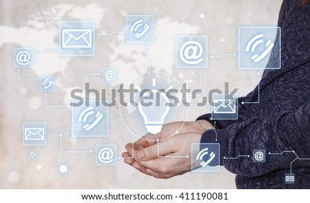 Businessman push button idea bulb web network mail icon