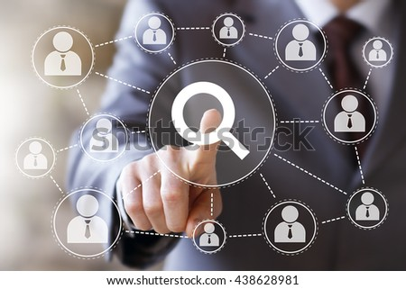 Businessman push button search magnifier loupe icon - stock photo