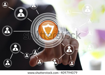 Businessman push button shield security web virus icon business - stock photo